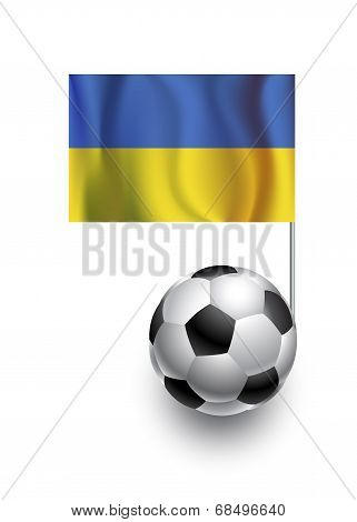 Illustration Of Soccer Balls Or Footballs With  Pennant Flag Of Ukraine Country Team