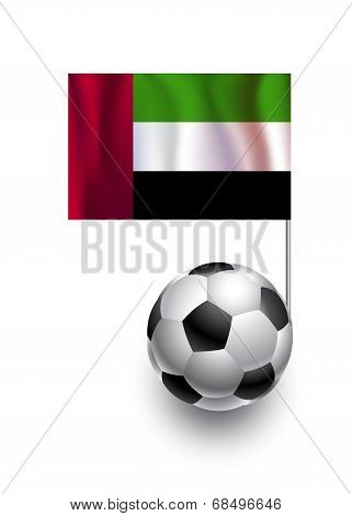Illustration Of Soccer Balls Or Footballs With  Pennant Flag Of United Arab Emirates  Country Team
