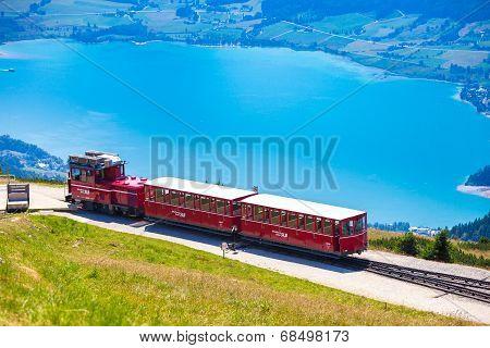 Diesel Train Railway Carriage Going To Schafberg Peak