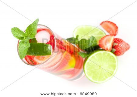 Cocktail Collection: Strawberry Mojito With Lime And Mint. Small Dof