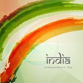 stock photo of indian independence day  - Stylish text India on Indian national flag colors background for 15th of August - JPG