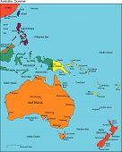 stock photo of pacific islands  - Australia and Oceania Regional Map - JPG