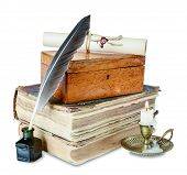 picture of inkpot  - Old books candle in candlestick feather in inkpot closed wooden box and scroll with stamp - JPG