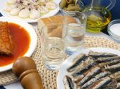 pic of ouzo  - Greek ouzo or tsipouro with misc seafood - JPG