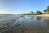 image of rn  - Beach of Pititinga at low tide and dawn Rio Grande do Norte  - JPG