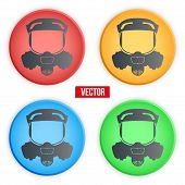 pic of respiration  - set of colorful Symbols protective respirator gas mask - JPG