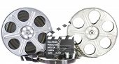 picture of clapper board  - Movie Clapper Board with film reel on white background - JPG