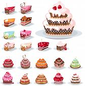 picture of fancy cake  - Set with different birthday cakes - JPG