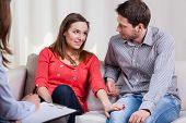 picture of counseling  - Young marriage are happy again after special therapy - JPG