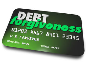 stock photo of forgiveness  - Debt Forgiveness words credit card negotiate repayment or removal of account balance - JPG