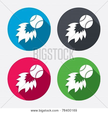 Baseball fireball sign icon. Sport symbol.