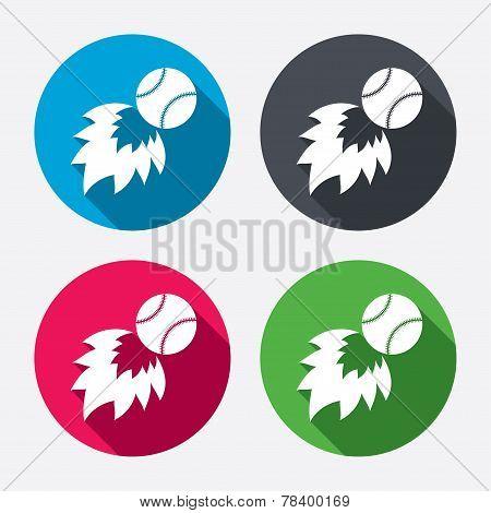 Baseball fireball sign icon. Sport symbol.