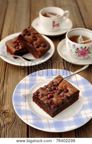 Cherry Brownie With Black Tea