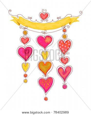 Festive decoration with pendants of hearts in watercolor style with free place for your text.
