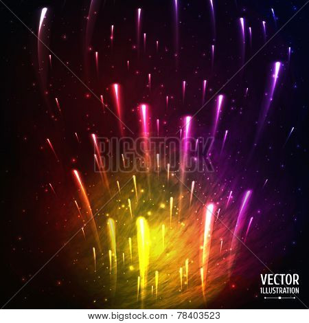 Colorful Space Galaxy Background with Light, Meteors, Shining Stars, Stardust and Nebula. Vector Ill