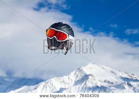 Helmet flying.