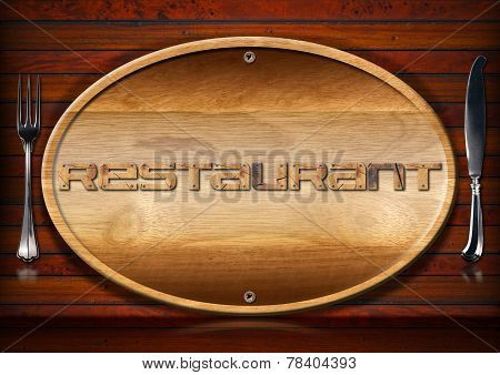 Restaurant Signboard With Cutlery