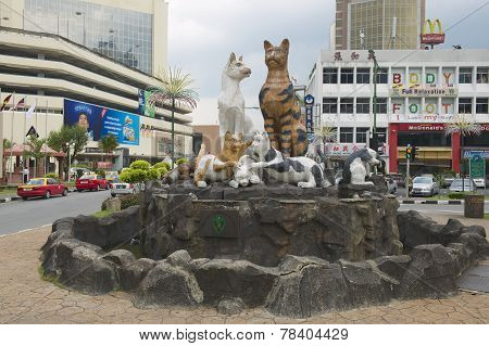 Cats monument at the downtown Kuching, Malaysia.