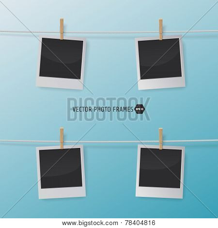 Retro Photo Frames on a Rope with clothespins. Vector illustration for your artwork, posters, flyers