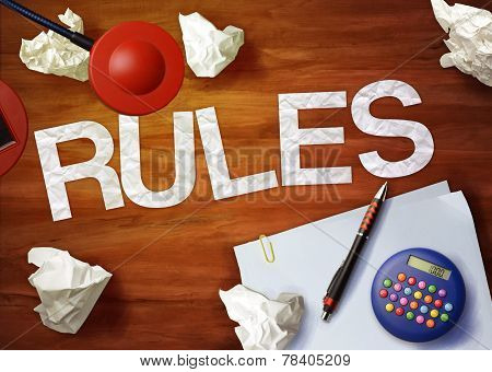 Rules Desktop Memo Calculator Office Think Organize