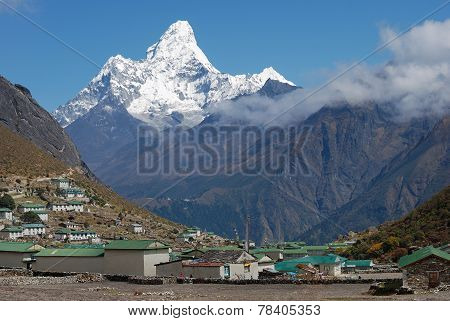 Khumjung Village And Ama Dablam (6814 M) Peak In Nepal