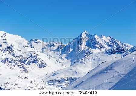 Winter landscape of mountains, Tignes, France.