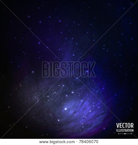 Colorful Space Galaxy Background with Light, Shining Stars, Stardust and Nebula. Vector Illustration