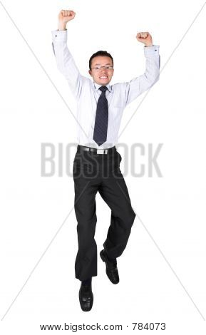 business man jumping high