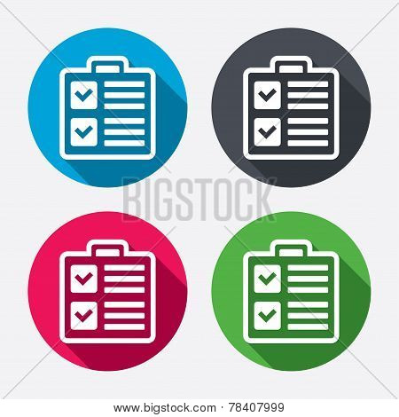 Checklist sign icon. Control list symbol.