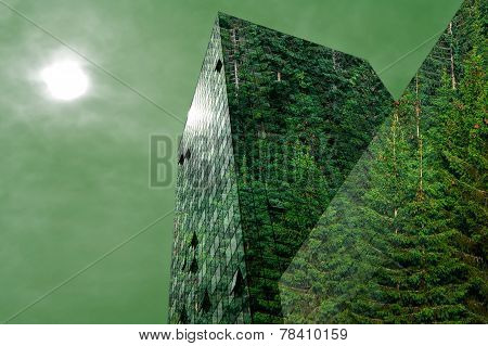 Modern Building Covered With Forest