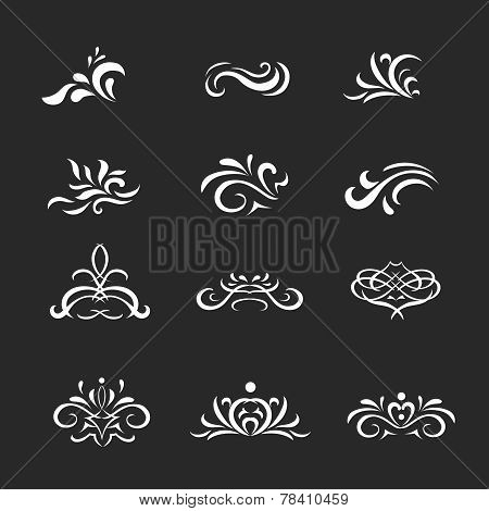 Beautiful  white vintage vector decorative elements and ornaments