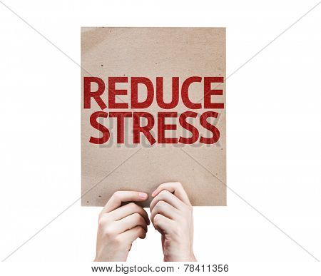 Reduce Stress card isolated on white background