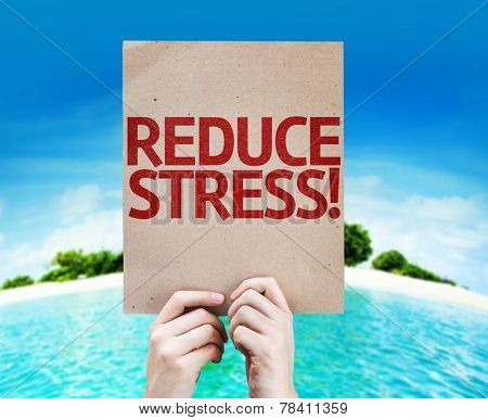 Reduce Stress card with a beach background