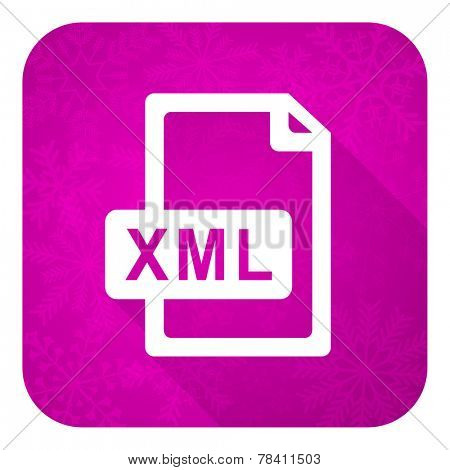 xml file violet flat icon, christmas button