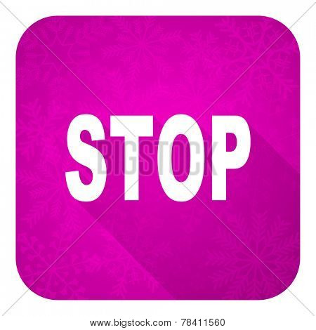 stop violet flat icon, christmas button