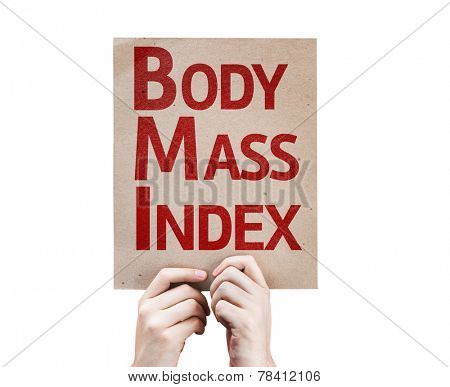 Body Mass Index card isolated on white background