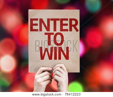 Enter to Win card with colorful background with defocused lights