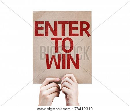 Enter to Win card isolated on white background