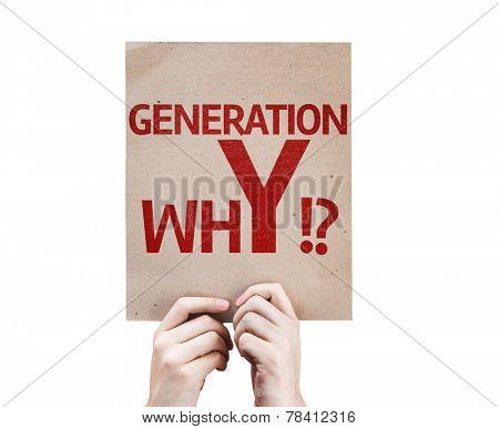 Generation whY !? card isolated on white background
