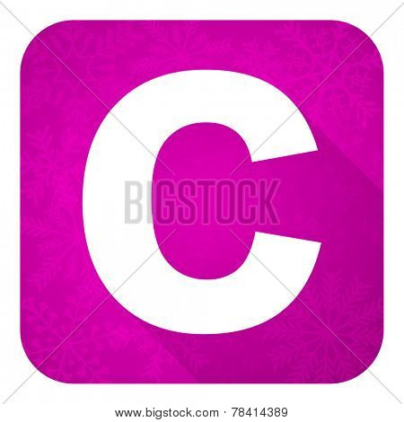 copyright violet flat icon, christmas button