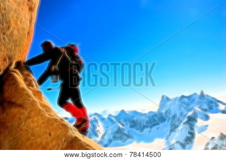 Male climber, Rock-climbing sport. Painting effect.
