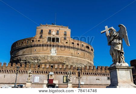 castel santangelo from outside in rome italy