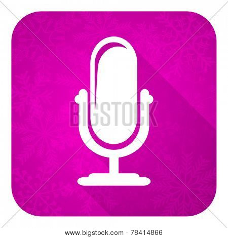 microphone violet flat icon, christmas button, podcast sign