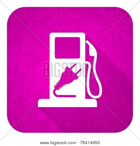 fuel violet flat icon, christmas button, hybrid fuel sign