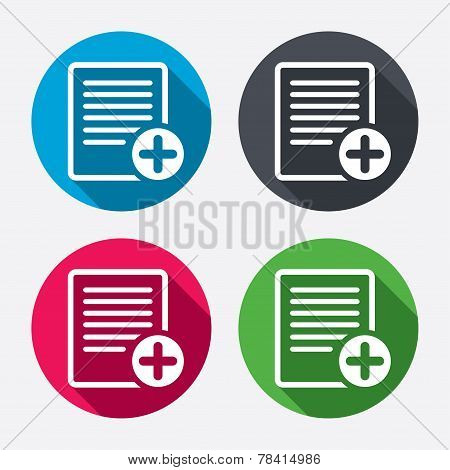Text file sign icon. Add File document symbol.