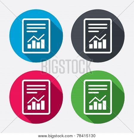 Text file sign. File document with chart symbol.