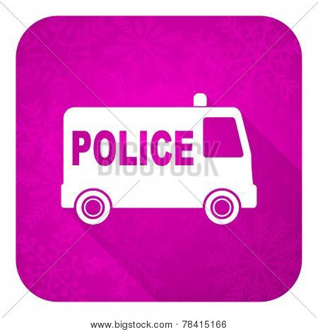 police violet flat icon, christmas button