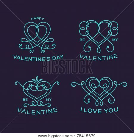 Graceful Floral Valentine Line Style Vector Heart Labels or Badges