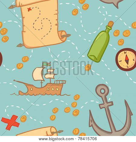 Hand Drawn Seamless Pattern - Treasure Map.