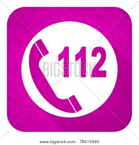 emergency call violet flat icon, christmas button, 112 call sign